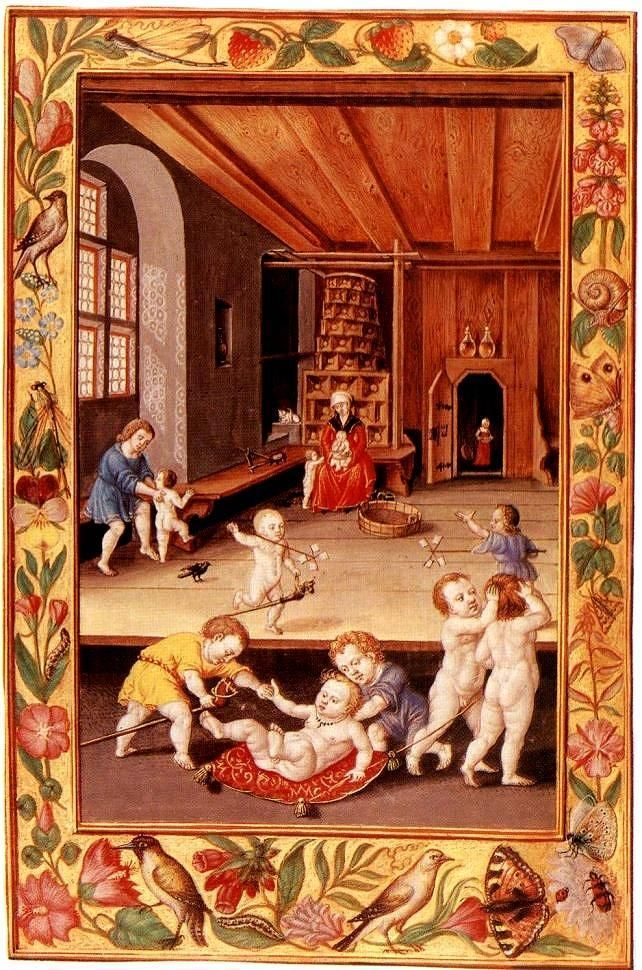 Day-care in the age before diapers - viewer discretion is advised (medieval miniature, 15th c)