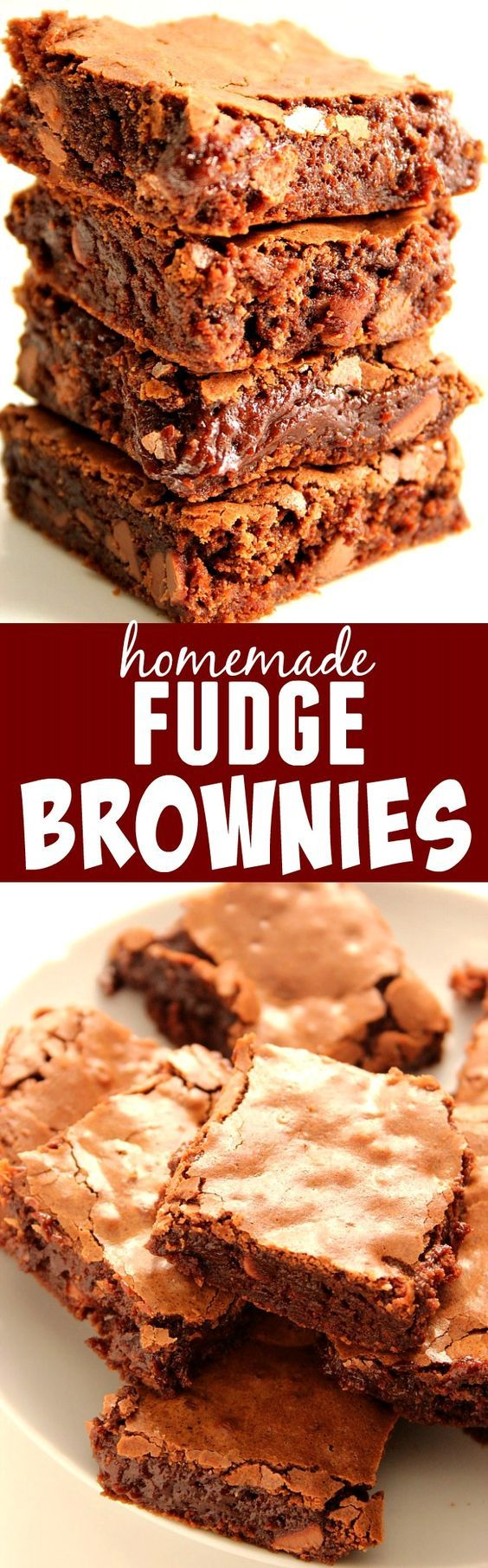 Homemade Fudge Brownies Recipe – the one and only recipe for fudgy brownies you will ever need! Learn the simple trick to get the flaky, crunchy top!