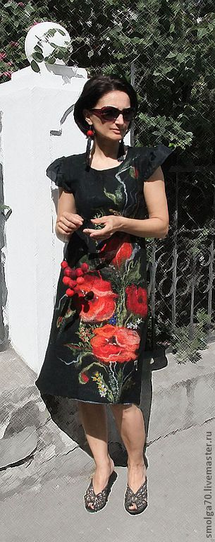 """платье-сарафан """"Маковая история"""" - чёрный,красный,красный и черный,маки"""