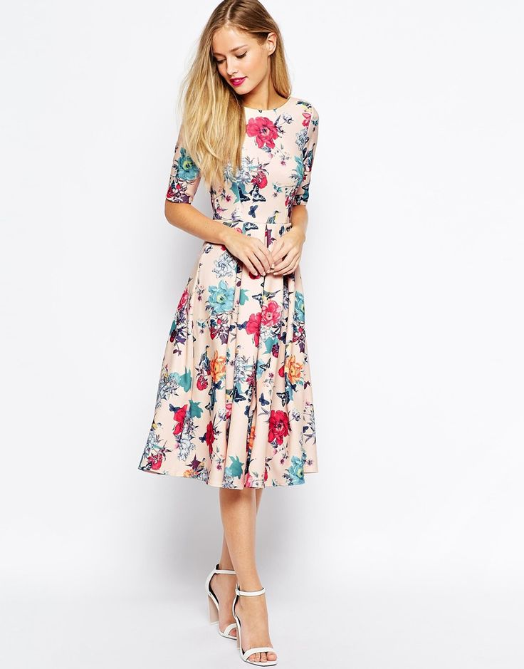 Image 4 of Closet Scuba Midi Skater Dress In Floral Print