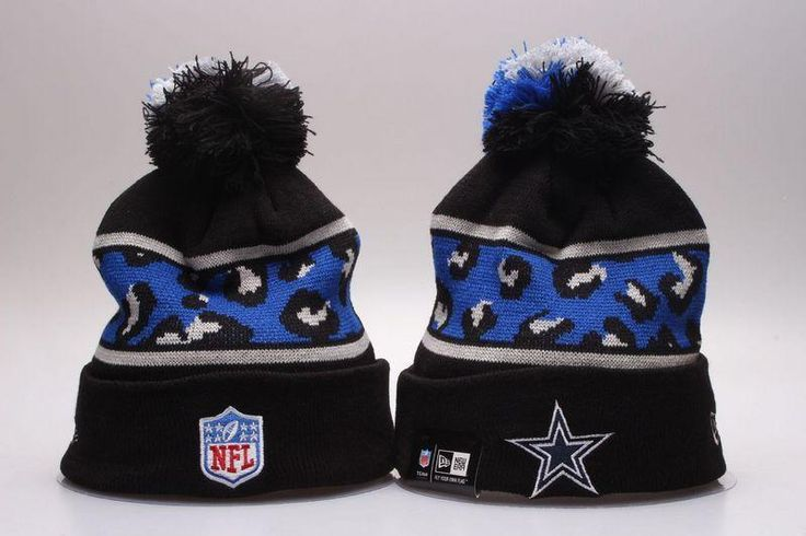 Men's / Women's Dallas Cowboys New Era NFL Black Polar Prints Cuffed Knit Pom Pom Beanie Hat