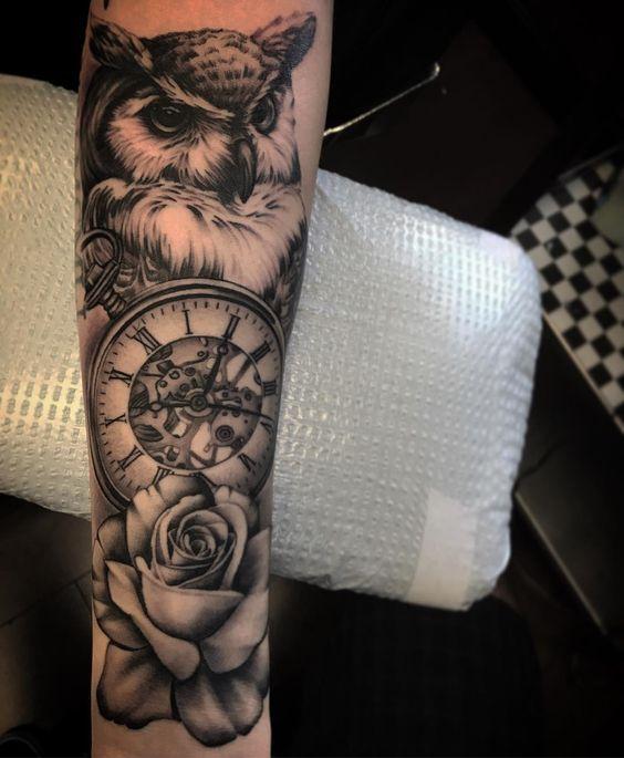 owl tattoo rose blackandgrey on Instagram