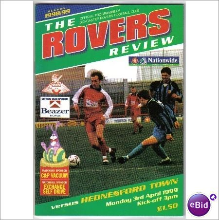 Doncaster Rovers v Hednesford Town 03/04/1999 Non League Football Programme Sale