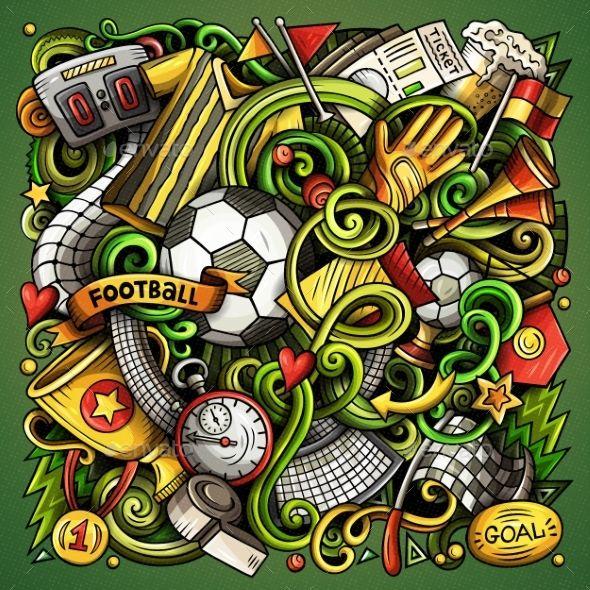 Cartoon Vector Doodles Football Illustration Ilustracoes Graficas Bola De Futebol Desenho