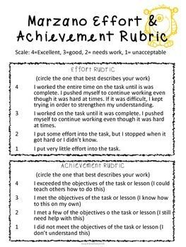 Marzano Effort & Achievement Rubric -all content areas Students and teacher can use Marzano's effective instructional strategies to score effort and achievement. Great for group work, individual work, and building independent students!