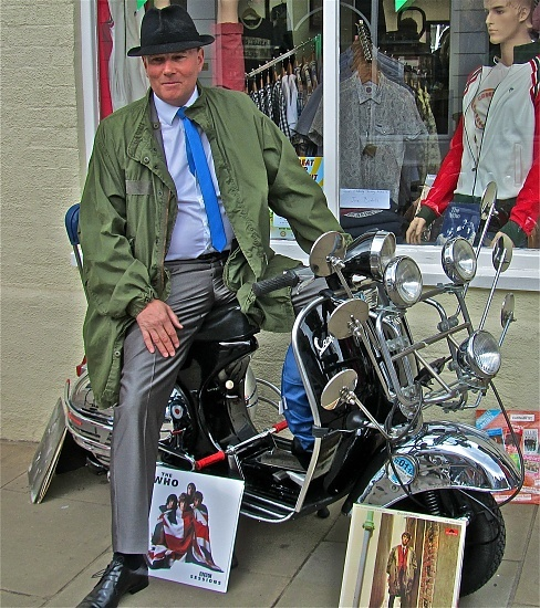 """An Original """"Mod"""" from the '60s on his Vespa Scooter . ."""