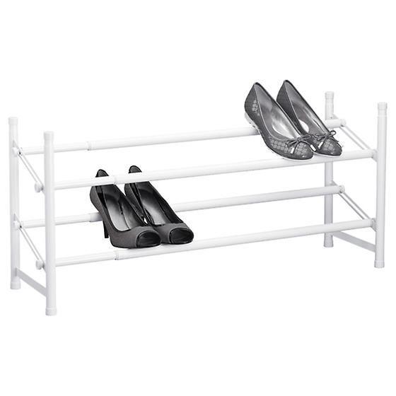 White 2-Tier Adjustable Shoe Rack