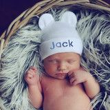 White Personalized Baby Bear Newborn Boy Hospital Hat - Royal Blue Letters