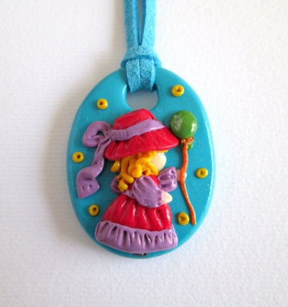 pendant made of polymer clay  fimo little girl  di Fimocollections