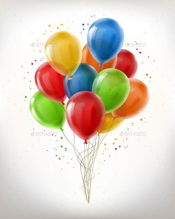 Vector Realistic Bunch Of Flying Glossy Balloons Multicolored
