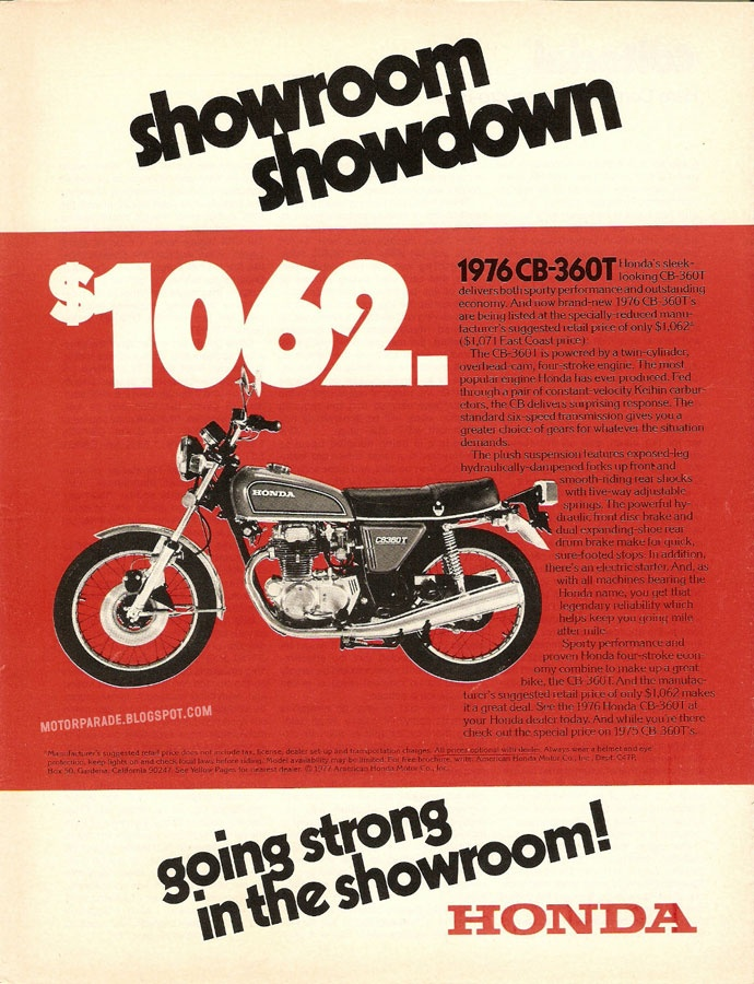 Even at our lowest price, this bike keeps collecting dust in our showroom. - Honda, USA, 1977
