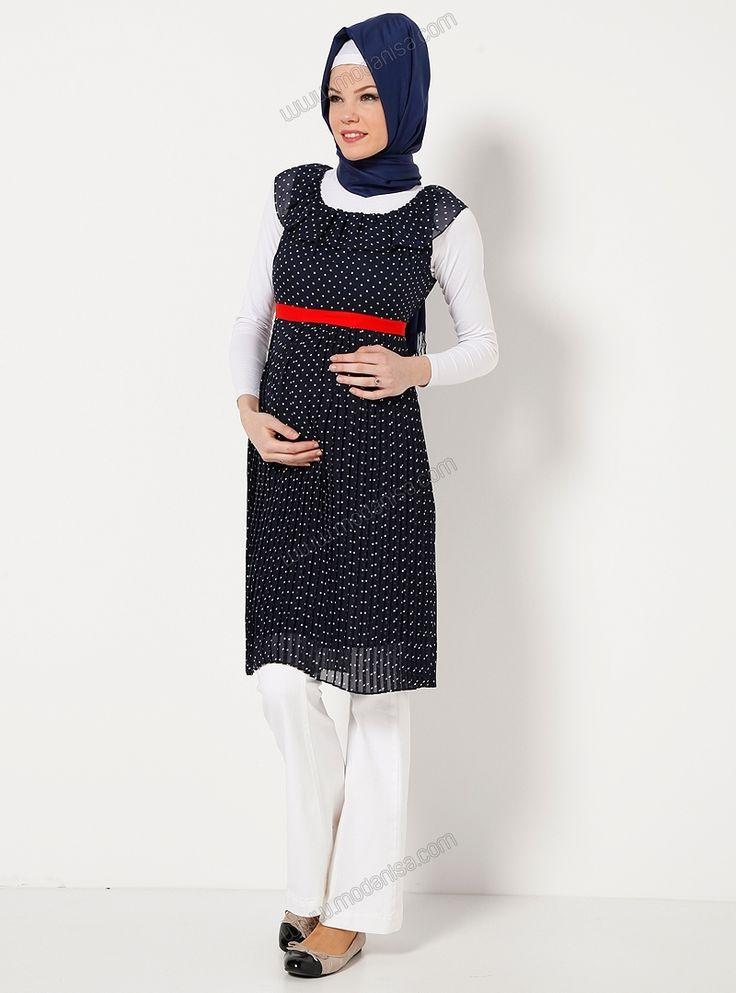 Yakası Fırfırlı Şifon Elbise 3928 - Lacivert - Beşik Hamile