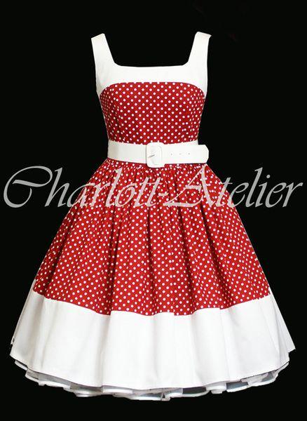 50er Petticoat Kleid Pin Up Rot Weiß Punkte