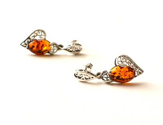 Natural Amber Stud Earring Heart Amber Silver Earrings Amber