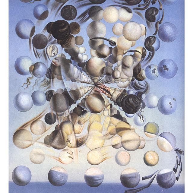 """""""The #beauty of a living thing is not the #atoms that go into it, but the way those atoms are put together.""""― Carl Sagan ❇  Salvador Dali  #art #creativity #surrealism #Dalì #SalvadorDalì #woman #face #portrait #nuclearphysics"""