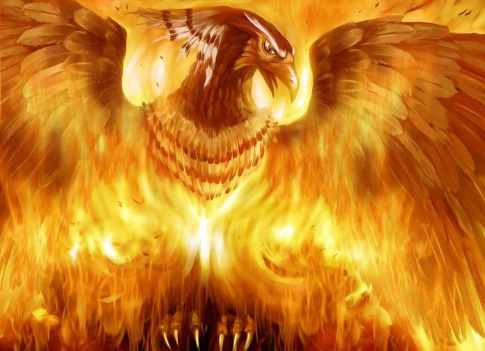 the phoenix enters its own funeral pyre before rising from its ashes
