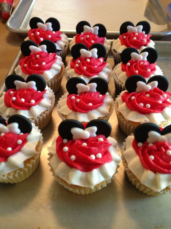 Edible Fondant Minnie or Mickey Mouse Ears and Bow Set Cupcake Toppers