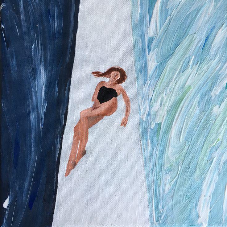 """""""À flots"""" – Acrylique sur toile, 20x20 cm, 2017"""