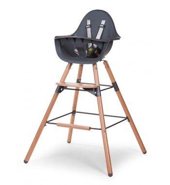 Chaise haute EVOLU 2 coloris naturel et blanc complète pour l'adapter à 3 dimensions.