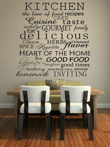 Kitchen words decorative vinyl wall decal sticker art
