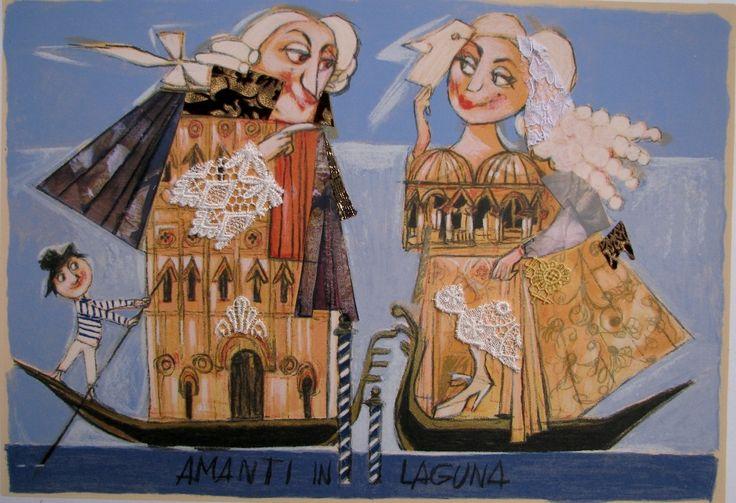 Amanti in laguna, Paolo Fresu    Serigrafia di collage con pizzi e merletti #gliartistidiGALP