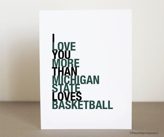 Michigan State MSU Spartans Basketball Card March Madness