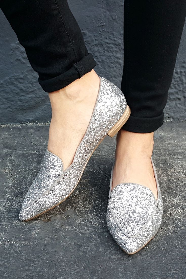Silver glitter loafers that can dress up denim & add sparkle to holiday party outfits!