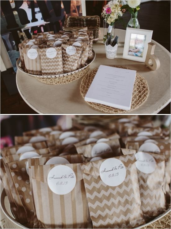 Easy and affordable wedding favor. Bake your favorite cookie and put in a mismatched kraft bag with a custom label. http://www.weddingchicks.com/2013/10/21/industrial-wedding-2/