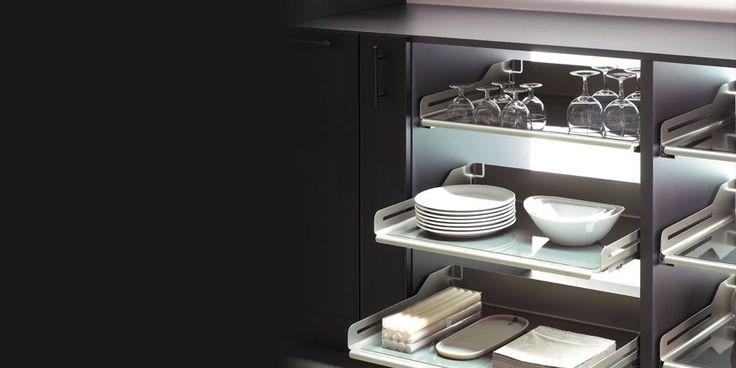 Libell Extendo - Kitchen - he Libell extendo pull-out shelves are bent in one piece from steel sheet. Their rounded style makes use of the storage space to the very edge so that the shelves and the antibacterial-coated anti-slip mats are easy to clean. The stability of the material is particularly suitable for shelf widths of 600 to 1,200 mm. A flexible adapter system allows the attachment of shelves on full and partial extensions from different manufacturers. Peka Metall AG