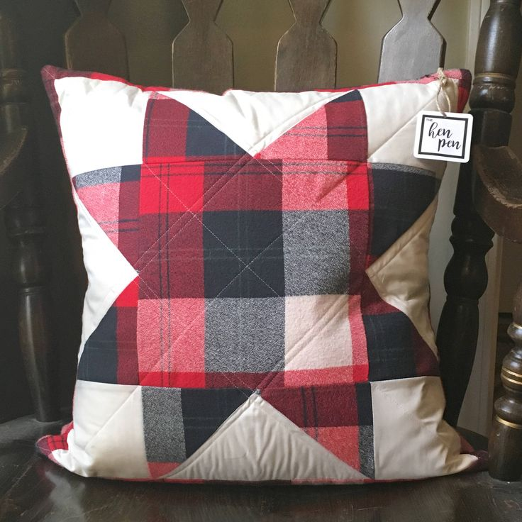 Holiday Throw Pillow / Christmas Home Decor / North Star Pillow, Red Plaid Decor, Buffalo Plaid Decor, Flannel Pillow, Throw Pillow by TheHenPen on Etsy https://www.etsy.com/listing/560370646/holiday-throw-pillow-christmas-home