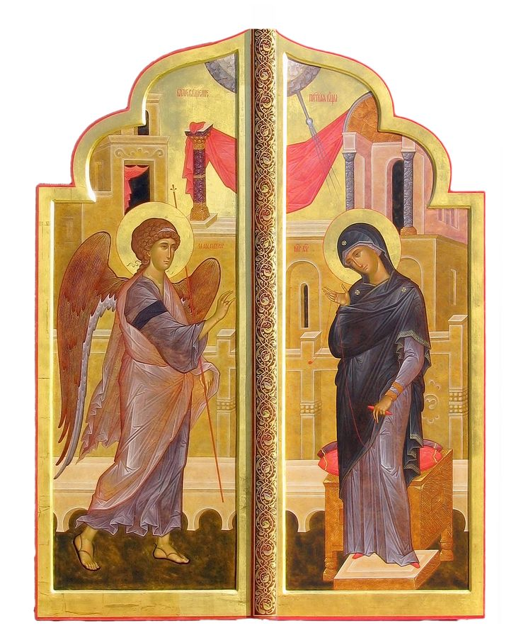 """The Royal Doors with Annunciation. 2012. Wood,gesso, tempera, gilding. Church of the Most Holy Theotokos """"Inexhaustible Cup"""" in Brooklyn, NYC (USA)."""