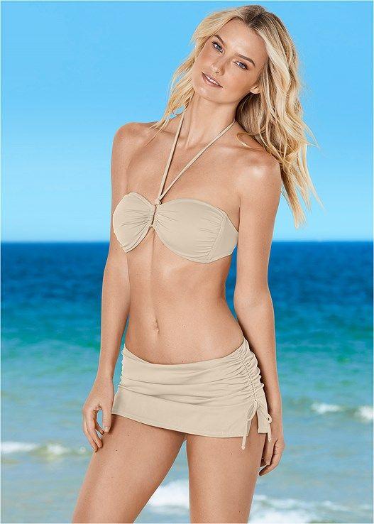 Venus Women's Shapely Ruched Bandeau Bikini Tops - Neutral, Size D2