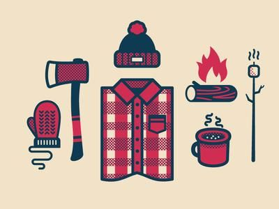 Canadian woodcutter set icon design