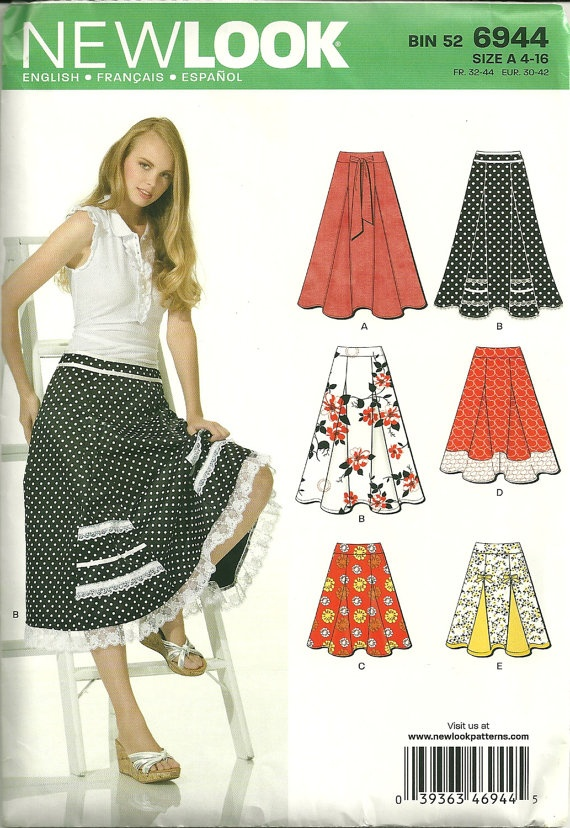 New Look 6944 Womens Swishy Skirt with Godets Sewing Pattern, $5.00