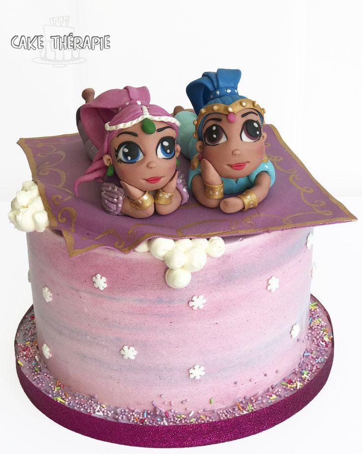 Shimmer and shine cake. Buttercream cake with fondant figures.