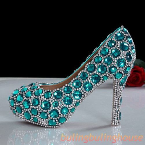2014 New Rhinestones Crystal Bridal Prom Heels Event Party Pageant Wedding Shoes