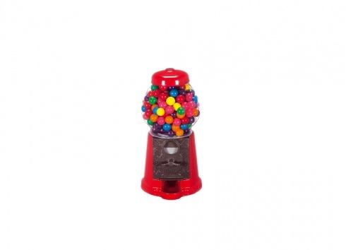 GUMBALL PICCOLO METALLO (caramelle non comprese). Distributore piccolo di chewingum in metallo e palla in vetro di colore rosso. Non comprende le chewingum all'interno