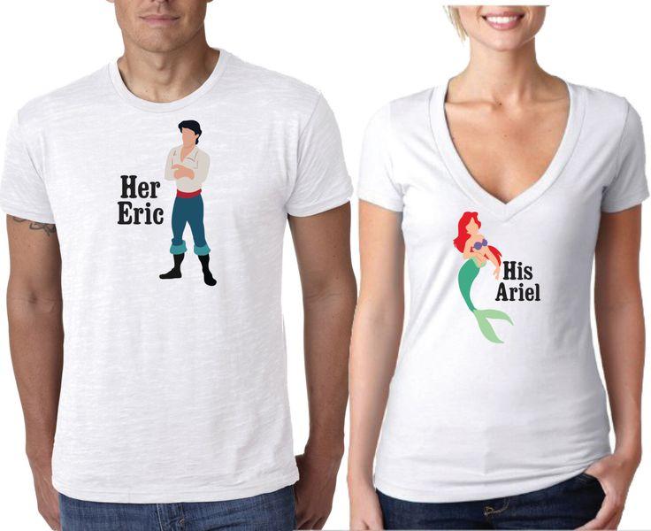 Disney Shirts, Couples Shirt, Little Mermaid Shirts, Princess Shirts, Ariel and Eric Shirt, Ariel Shirt, Carl Shirt, by AlaneMaineDesigns on Etsy https://www.etsy.com/listing/285597973/disney-shirts-couples-shirt-little
