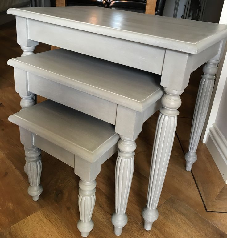 Nest Of Tables In Annie Sloan Paris Grey With Autentico