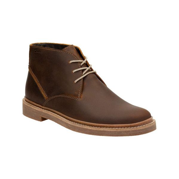 Men's Clarks Bushacre Ridge Chukka Boot ($110) ❤ liked on Polyvore featuring men's fashion, men's shoes, men's boots, casual, leather boots, yellow, clarks mens shoes, mens leather boots, mens leather shoes and mens lace up boots