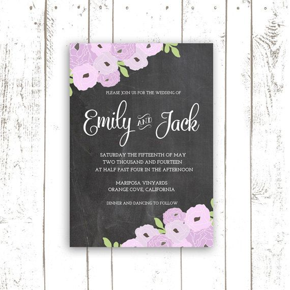Printable Wedding Invitation Chalkboard by MooseberryPrintShop
