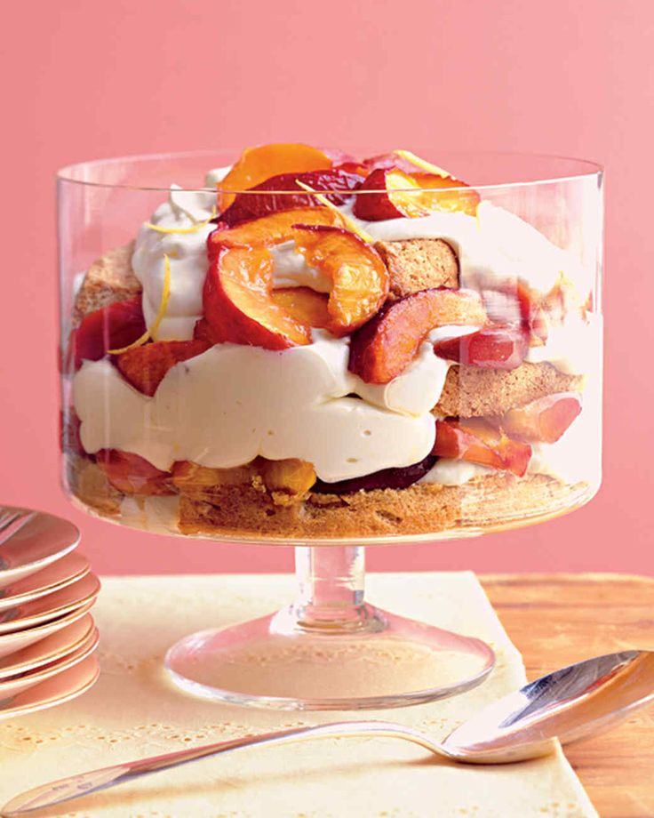 Stone-Fruit Trifle with Lemon Mousse | Martha Stewart Living - In honor of your graduate, layer a pound cake with lemon mousse, roasted stone fruit, and lemon zest.