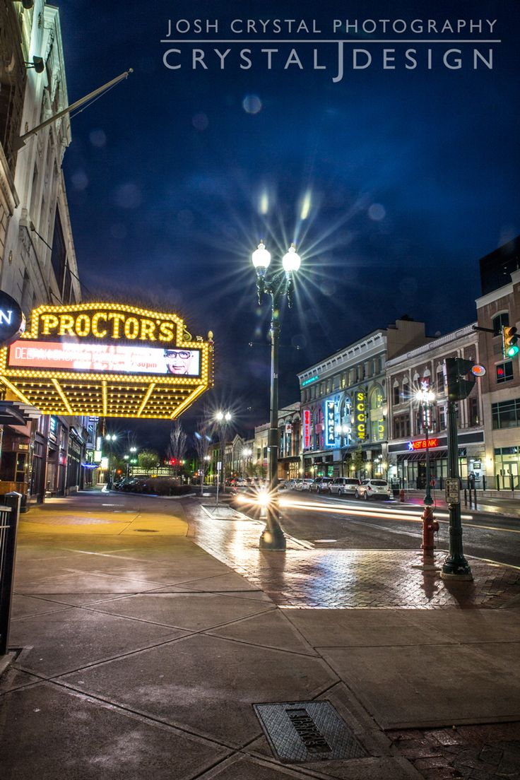 Downtown Schenectady in the rain. Long exposure.
