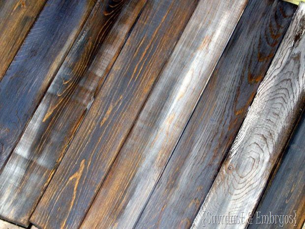 Make brand new pine boards into distressed 'barn boards' with a couple super simple steps. You can add any tint you want too! {Sawdust and Embryos}