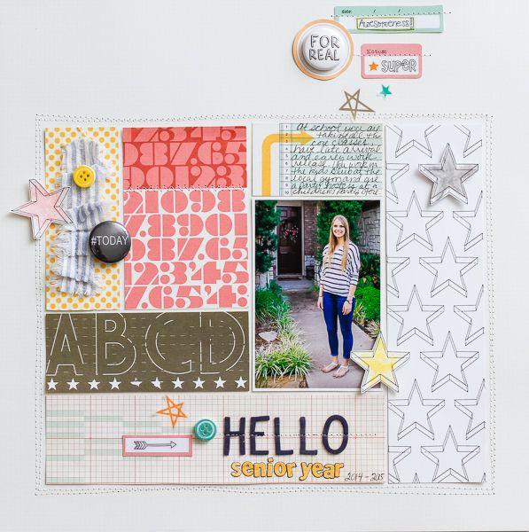 #papercraft #scrapbook #layout. Hello Senior Year | Diane Payne