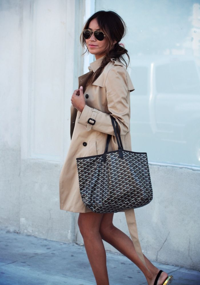 Trench Coat + Goyard Tote http://sincerelyjules.com/2014/05/classic-trench-coat-and-striped-tee.html