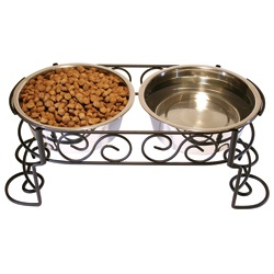 @Overstock - 1 Quart Mediterranean Diner by Ethical Pets - Color: Black/steelMaterials: Steel and metalSet includes: Two (2) bowls and stand    http://www.overstock.com/Pet-Supplies/1-Quart-Mediterranean-Diner-by-Ethical-Pets/6354088/product.html?CID=214117  $24.97