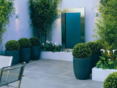 Cool Contemporary Patio with Green Plantings. DK - Garden Design, 2009 Dorling Kindersley Limited Potted shrubs, brushed steel, and simple limestone pavers make this patio contemporary and elegant.