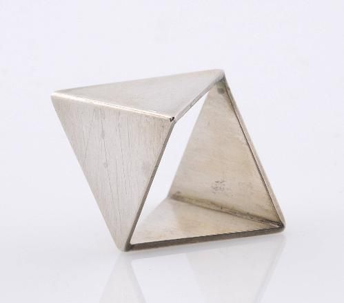 """""""The Idea of Jewellery as Giving Meaning"""" By Nicolaas van Beek - silver ring with four triangles"""