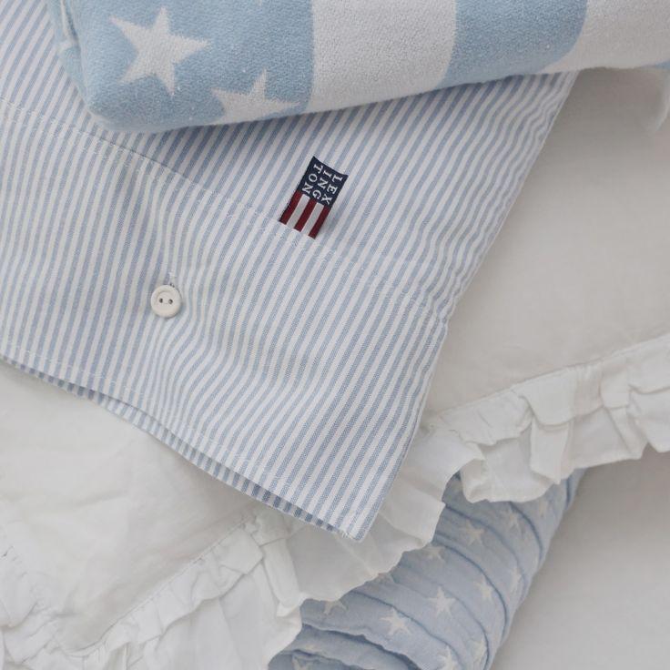 Lexington company, stars, stripes, pastel, pale blue, baby blue, bedlinen, sängkläder, hm home, molban, annashjartan